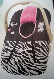 Baby or Infant Car Seat Cover Cozy Cover Pink Zebra Girl
