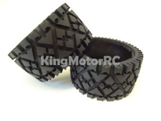 King Motor Rear All Terrain Tires Wheels Fits HPI Baja 5B 2 0 Rovan Desert Buggy