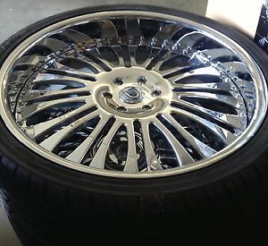 "26"" asanti Chrome Wheels Rims Tires Two Piece GM"