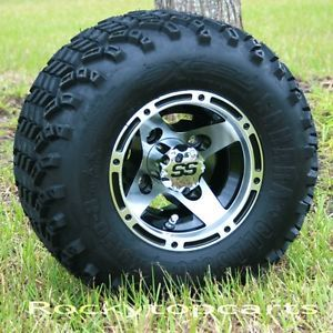 8x7 Machined Black Ranger Wheels and All Terrain Golf Cart Tires Combo