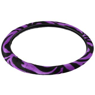 9 PC Zebra Print Purple Front Bucket Car Seat Cover Set Wheel Belt Pad Head Rest
