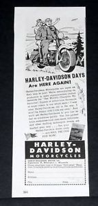 1945 Old WWII Magazine Print Ad Harley Davidson Motorcycles Here Again
