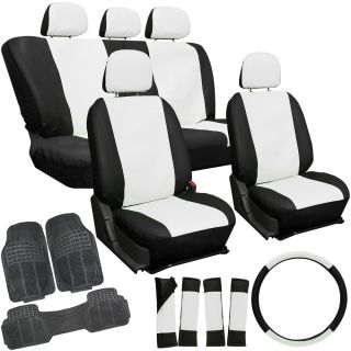 20pc PU Leather White Car Seat Cover Set Heavy Duty Rubber Floor Mats