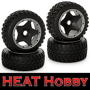 King Motor 1 5 RC Baja All Terrain Rims Tires Full Set Front Rear HPI Compatible