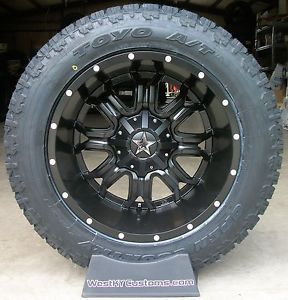 "20"" 20x12 Tis 535 Black Toyo Open Country AT2 305 55R20 33"" All Terrain Tires"