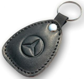 New Leather Black Keychain Car Logo Mercedes Benz Auto Emblem Keyring