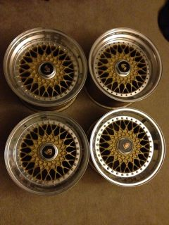 BBs RS Staggered RARE 3 Piece Wheels Rims Orginal 5 Lug with Spacer Adaptor 16""
