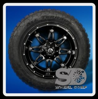 "20"" Fuel Hostage Black with Lt 305 55 20 Nitto Terra Grappler Tires"