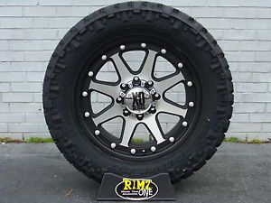 "18"" XD Addict 798 Black Machined Wheels 285 65 18 Nitto Trail Tires 33"" Tires"