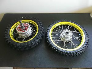 Kawasaki KLX110 BBR Yellow Rims Dunlop Tires Wheels KLX 110 DRZ 110 Pitbike