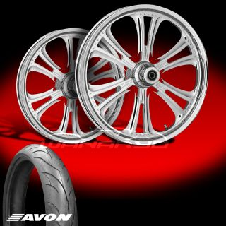 "RC Components Czar 23"" Chrome Wheels Tires for 2009 13 Harley Touring"