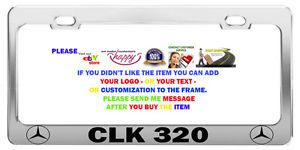 Mercedes CLK 320 License Plate Frame Tag Chrome Metal Car Accessories
