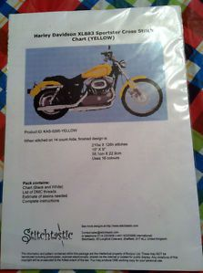 Motorcycle Counted Cross Stitch Harley Davidson Sportster Yellow