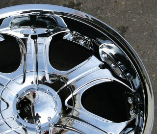 "Akuza Spur 504 22"" Chrome Rims Wheels GMC Envoy 6x127 Rainier"