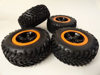 Traxxas Slash 2WD Black Wheels Orange Beadlocks Front Rear Wheels Tires