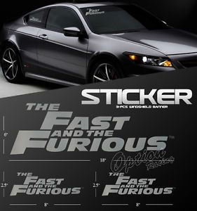 The Fast and The Furious Logo Style Silver Auto Decal Windshield Vinyl Stickers