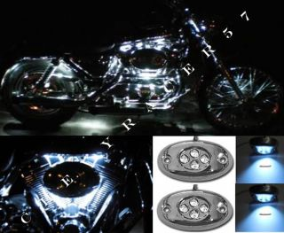 2pc White LED Chrome Modules Motorcycle Chopper Frame Neon Glow Lights Pods Kit