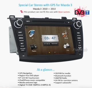 "8"" Car GPS Nav DVD Player Radio Stereo Auto Audio Unit for Mazda3 2010 2011 2012"