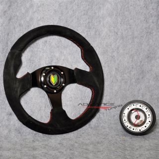 Black Suede 320mm Sports Steering Wheel Red Stitch Hub Adapter Horn