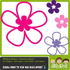 88 Daisy Hibiscus Flower Stickers Any Colour Car Wall Decals Graphics Window