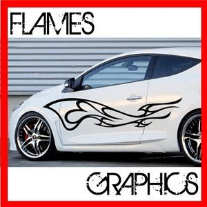 Tribal Flames Side Decals Graphics Stickers Decal Graphic Vinyl Kit Car Van F 1