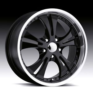 "17"" inch 5x4 5 Black Machined Shockwave Wheels Rims 5 Lug Acura Dodge Ford Honda"