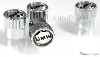 4 Genuine BMW Mirror Logo Chrome ABS Tire Wheel Stem Air Valve Caps Covers Set