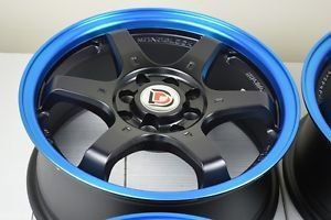 15 Matt Black Blue Lip Wheels Rims Acura Integra Honda Civic Tiburon Nissan Cube