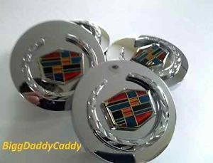 4 Cadillac DTS Chrome Wreath Crest Wheel Center Caps