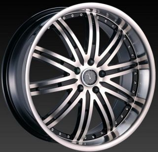 "20"" Velocity VW865 Black M Lip Rims for Pontiac Lincoln Scion Toyota Wheels"