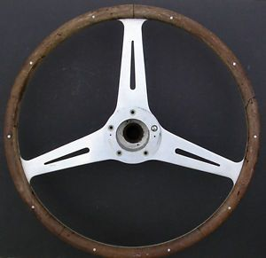 "Vintage Jaguar XK Small Center Aluminum 9 Rivet 15 5"" Wood Steering Wheel Boss"