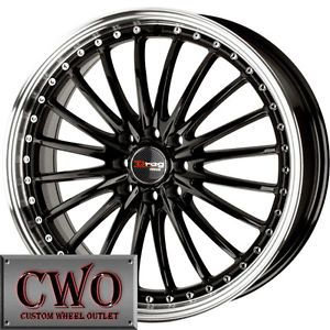 18 Black Drag Dr 36 Wheels Rims 5x100 5x114 3 5 Lug Civic Mazda 3 6 WRX Accord