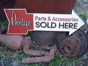DODGE Parts Die Cut Arrow Embossed Metal Sign MOPAR CHRYSLER PLYMOUTH