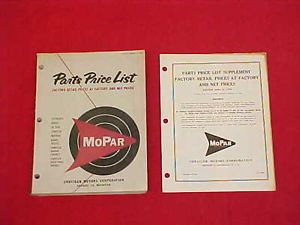 1958 Chrysler Plymouth Dodge DeSoto Mopar Parts Price List Book Catalog 58