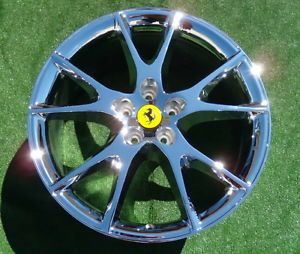 Set 4 New Chrome Genuine Original Factory Ferrari California 20 inch Wheels
