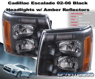 02 06 Cadillac Escalade ESV Ext Black Euro Headlight 03 04