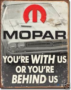 Vintage Retro Mopar Tin Sign Chrysler Auto Parts Car