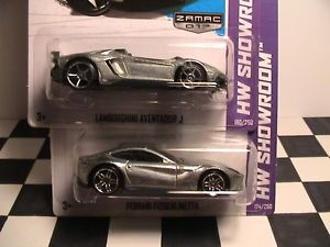2013 Hot Wheels Zamac Ferrari F12 Berlinetta and Zamac Lamborghini Aventador J