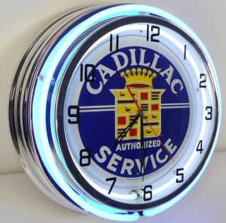 "Cadillac 18"" Neon Chrome Clock Service Parts Garage Logo Emblem Car Sign DTS Cts"
