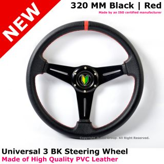 Hummer Jeep Fiesta 320mm Black Red Stitch 3 Spoke JDM Badge Steering Wheel