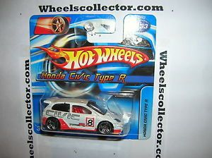 2006 Hot Wheels Honda Civic Type R White PR5 Rims Short Card