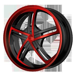 "18"" Dvinci Cinque Black Red Paint Wheels Tires Fit Nissan Toyota Kia Ford Chevy"