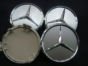 4X Mercedes Benz Chrome Wheel Center Caps 75mm for Mercede Benz C E s CL ml SL