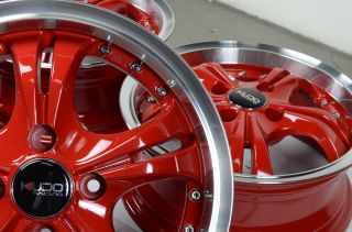 "14"" Red Kudo Wheels Rims 4x100 Honda Fit Insight Prelude Miata Protege Corolla"