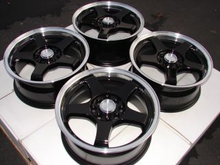 "15"" Black Effect Wheels Rims 4 Lugs Escort Accord Civic Prelude Sephia Miata"