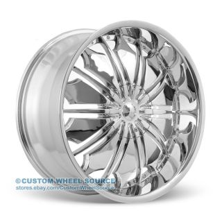 "22"" Tyfun TF706 Wheel and Tire Package Chrome Fits Dodge Ford GMC Hummer Lincoln"