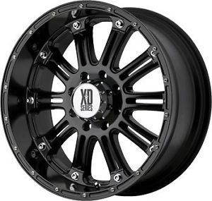 "22"" Black Wheels Tires 8x165 Hummer Chevy Dodge New 305 40 22 XD Hoss"
