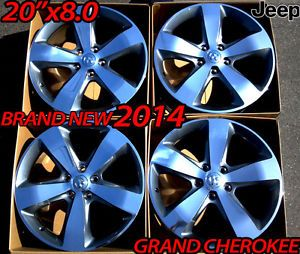 "20"" Factory 2014 Jeep Grand Cherokee Wheels Rims New Polished w Gray Grey 18"