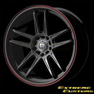 17 x7 Motegi MR117 Black w Red Stripe 4 5 Lugs Wheels Rims Free Lugs