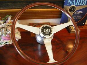 "Saab 95 96 Monte Carlo Nardi Wood Steering Wheel 15"" Orig Hub Horn Button"